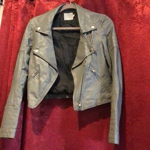 Mike and Chris leather jacket- blue grey- small